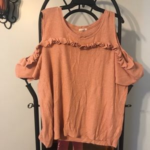 Light weight, ruffled, cold shoulder sweater